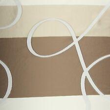 Meterware halbtransparent Vorhangstoff Dekostoff Streifen braun beige