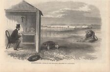 OLD 1864 PRINT ELECTRO BALLISTIC APPARATUS  TO MEASURE SPEED OF CANNON SHOT S3