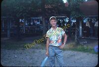 Handsome Young Man Hawaiian Shirt 1950s 35mm Slide Vtg Red Kodachrome Americana