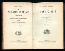 MANZONI ALESSANDRO LIRICHE UTET 1928 CLASSICI ITALIANI 37 POESIA MANZONIANA