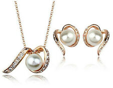 Wedding Shiny Bridal Jewellery Set Gold & White Pearls Necklace Earrings S542