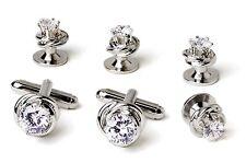 NEW Mens Silver Love Knots w/ Cubic Zirconium Stone Cuff Links & Studs Box Set