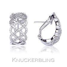 0.80ct Genuine Diamond Earrings F VS 9ct White Gold Pierced Leverback Hoops