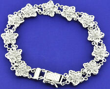 18K Solid White Gold Flower Bracelet Filigree 7 1/2 Inches 15.50gram hidden lock