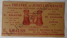 Publicité ancienne Jumelles Krauss , theatre, marine,  1907