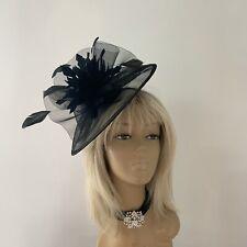 Women's Black Hatinator Fascinator Mother Of The Bride/Groom Wedding Ascot Races