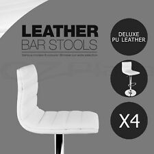 4x Leather Bar stool ENZO Swivel Barstool Kitchen Dining Chairs White Gas Lift