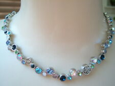 LIA SOPHIA 'Happy Hour' Blue Green Cut Crystals Silver Tone  Necklace New