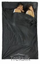 TREKSILK Double BLACK Sleep Sack Travel Silk Sleeping Bag Liner Hostel Trip