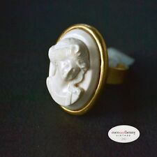 *Vintage EXTASIA BOLD 925 Silver White German Glass Cameo Ring Gold Finish