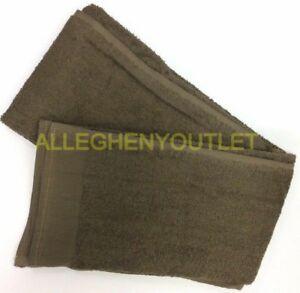 "Qty 1 - USGI Military 100% Cotton Bath Towel 24x50"" Brown NEW"