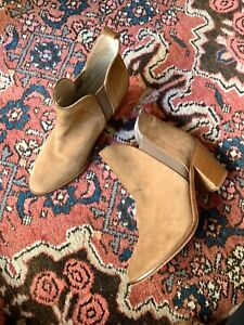ZARA pointed toe tan suede heeled ankle boots sz 39   ex cond