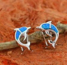 Blue Opal Dolphin Clip Earrings-Sterling Silver-Blue Fire Opal,Lovely,Ocean,Cute