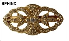 VINTAGE SIGNED SPHINX GOLD CLEAR RHINESTONE HAIRCLIP BARRETTE