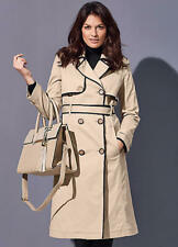 Beige Longline Belted Trench Coat with Piping Detail Size 12