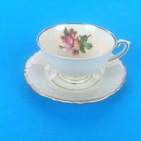 Syracuse China Rosalie Federal Shape Tea Cup And Saucer Set Gold Trim