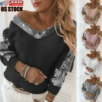 Women's Long Sleeve V Neck Baggy Sweater Sequin Patchwork Jumper Pullover Tops