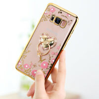 Luxury Bling Diamond Crystal Ring Holder Stand Soft Case Phone Cover 2017 A5 A7