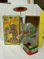 1950's Circus Elephant Battery Op Toy in Orig Box, Tin Litho, Made in Japan, Vg+