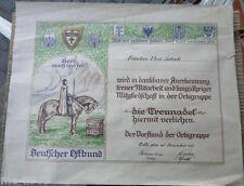 original Urkunde Deutscher Ostbund  Treuenadel  1931