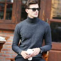 Men Cashmere Knitted Sweater Long Sleeve Turtleneck Slim Fit Pullover Tops