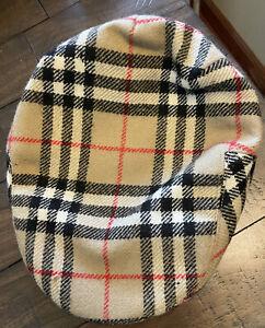 Vintage Burberrys 100% Wool Newsboy Cap Nova Check size 59 Hat 7 1/4