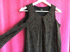 Ladies Dress Size 8 Black Bronze Sparkle Stretch Elegant Dress Cut Out Shoulder