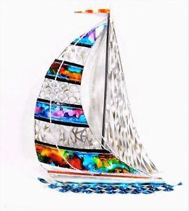 Sailboat Hand Sculpted & Painted Metal Beach Tropical & Nautical Wall Decor