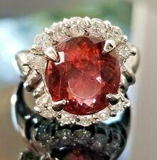 6.48TCW Vintage Fashion Berry Red Pink Tourmaline VS Diamond Platinum ring