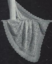 """Baby Shawl Knitting Pattern """"Heirloom-to-be"""" 2ply 43"""" square  836"""
