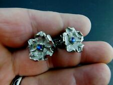 Vintage Clip on Earrings Silver Tone Blue Rhinestone Flowers Mid Century     @3
