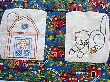 "Hand Embroidered Farm Animals Quilt Chicken Duck Cat Horse Cotton 37"" x 49"" Euco"