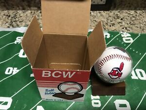 Vintage Cleveland Indians Opening Day Commerative Logo Baseball With Stand