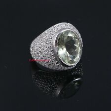 Natural  Green Amethyst  & CZ Gemstones With 925 Sterling Silver Ring For Men's