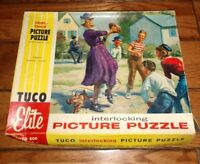 Tuco interlocking  jigsaw Puzzle Complete granmal playing football with kids