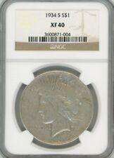 1934-S Peace Dollar, XF 40 - NGC