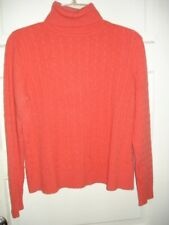 Chadwicks Womens Size L Cashmere Sweater Cable Knit Turtle Neck