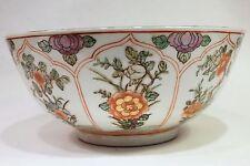 "Beautiful Orange and White Porcelain Bowl Floral Pattern 10"" Diameter"