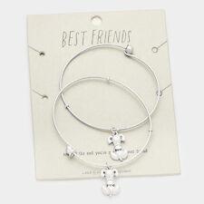 Dog Best Friends BFF Friendship Bracelet Bangle Set - 2 Pcs.