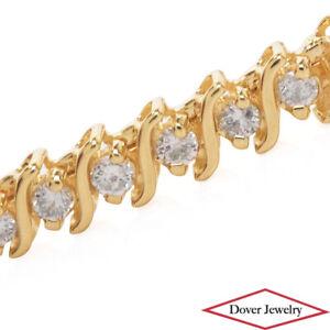 Estate 4.40ct Diamond 14K Gold Elegant Fancy Link Bracelet 16.9 Grams NR