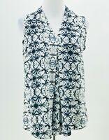 Renee C. Stitch Fix Women's White Black Tie-Dye Print Sleeveless Blouse Size XS