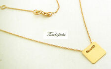 14K Solid Yellow Gold Necklace with Square Plate 15 inches adjustable to 16""