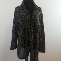 Fenini open front heathered gray lagenlook cardigan women's size Large