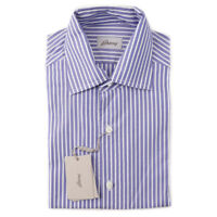 NWT $425 BRIONI Blue and White Striped Short-Sleeve Cotton Shirt L Large