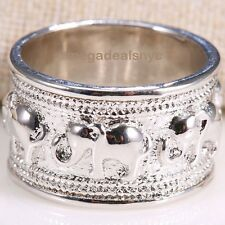 Fashion Jewelry Women 925 Silver Care Elephant Printing Silver Ring Size 9