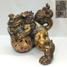 E976: Japanese KUTANI porcelain rare golden foo dog statue with fantastic work