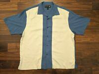 Nat Nast Mens 100% Silk Short Sleeve Button Front Casual Shirt Size XL