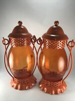 Orange Hanging Lantern with Globe Tea Light Easter Candleholders Set of 2