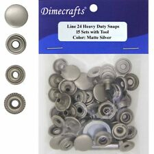 Leathercraft 9/16 Inch Line 24 Snap fastener kit CT.15 w/Tools - Matte Silver