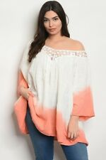 Women's Plus Size Coral Pink And Ivory Off Shoulder Tie Dye Top 2XL NWT
